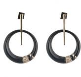 Alexis Bittar Crystal Encrusted Minimalist Hoop Post Earring