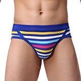 HP95(TM) Mens Elastic Underwear Boxer Briefs Shorts Stripe Pouch Soft Underpants (M, Blue)