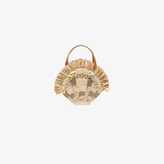 Aranaz Beige Serena embellished raffia mini bag