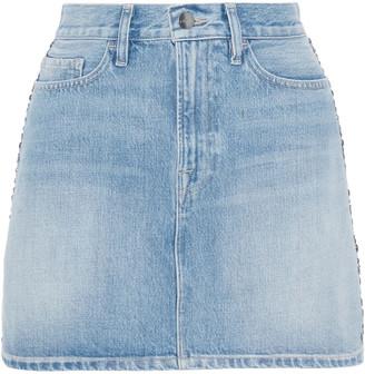Frame Le Studded Motif Faded Denim Mini Skirt