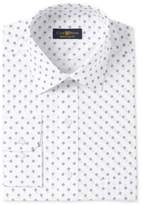 Club Room Men's Estate Classic/Regular Fit White Print Wrinkle Resistant Dress Shirt, Only at Macy's