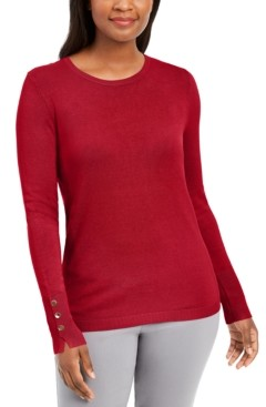 JM Collection Button-Sleeve Crew-Neck Sweater, Created for Macy's