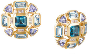 David Yurman Novella Mosaic Topaz & Tanzanite Earrings w/ Diamonds