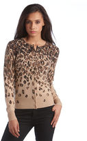 Lord & Taylor Petite Cashmere Leopard Print Cardigan