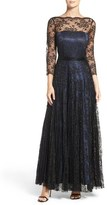 Tahari Women's Metallic Lace Fit & Flare Gown