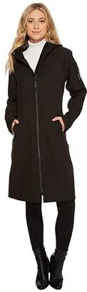 Ilse Jacobsen Soft Shell 3/4 Long Functional Rain Coat (Black) Women's Coat