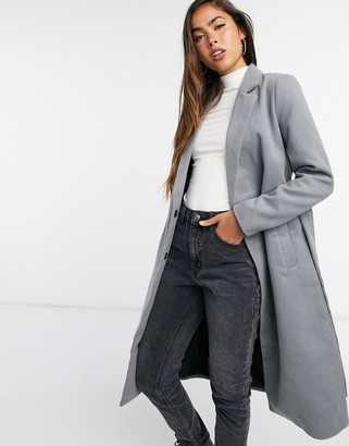 Vila longline coat with belted wrap front in grey