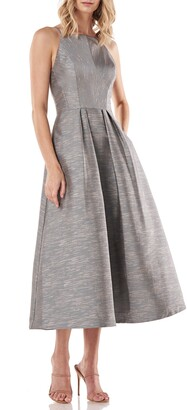 Kay Unger Shantung Jacquard Halter Neck Dress