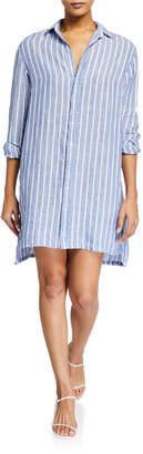Frank And Eileen Hunter Striped Button-Down Linen Shirtdress