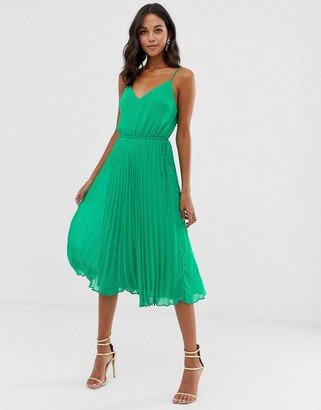ASOS DESIGN pleated cami midi dress with drawstring waist in emerald green