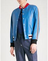 Gucci Patch-appliquéd Leather Bomber Jacket