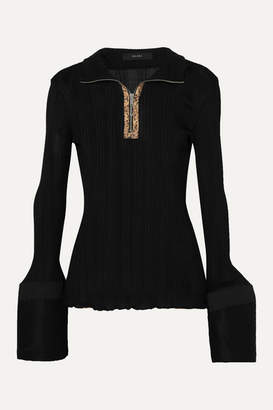 Ellery Arcade Tulip Faux Leather-trimmed Cotton Poplin And Ribbed-knit Top - Black