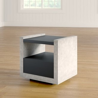 Evony Contemporary End Table 17 Stories Color: Black