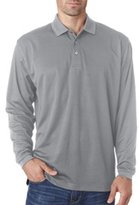 Ultraclub Adult Cool & Dry Long-Sleeve Mesh Piqué Polo Shirt