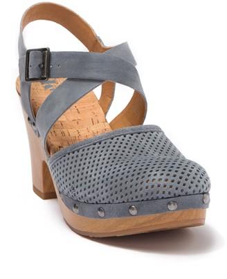 KORKS Abloom Perforated Suede Ankle Strap Clog Sandal