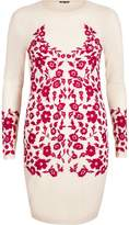 River Island Womens Light Pink embroidered bodycon dress