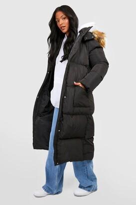 boohoo Tall Faux Fur Hood Longline Padded Coat