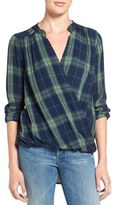 Splendid Women's Plaid Surplice Top