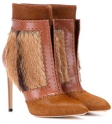 Francesco Russo Calf hair and leather ankle boots