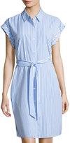 Neiman Marcus Striped Lace-Inset Shirtdress, Blue/White