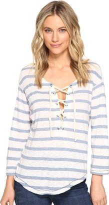 Splendid Women's Cliffbrook Lace Up Stripe Top