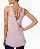 Hippie Rose Juniors' Lattice-Back Tank Top