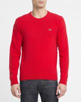 Lacoste Red Chest Logo New Wool Round-Neck Sweater