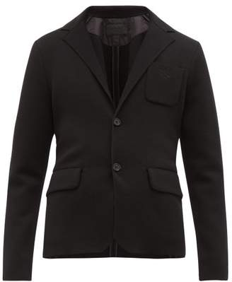Prada Single Breasted Knitted Technical Blazer - Mens - Black