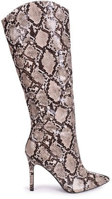 Linzi CONNIE - Beige Snake Cowboy Style Stiletto Long Boot