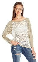 Miss Me Women's Quarter Sleeve Lace Pullover