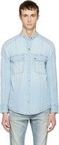 Balmain Blue Panelled Denim Shirt