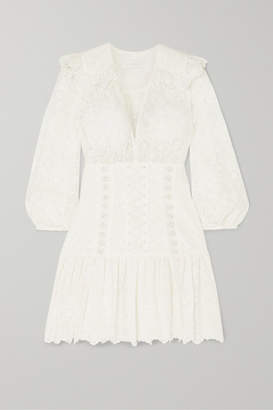 Zimmermann Honour Lace-up Broderie Anglaise Cotton Mini Dress - Ivory