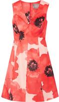 Lela Rose Floral-print Silk-gazar Dress - Papaya