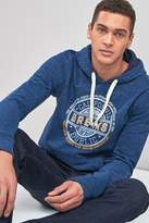 Mens Next Blue Soft Touch Graphic Overhead Hoody