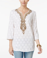Charter Club Petite Embellished Jacquard Tunic, Only at Macy's