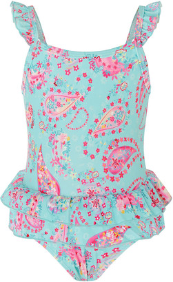 Monsoon Baby Paisley Print Frill Swimsuit Blue