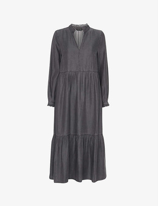 Whistles Ruffle-trimmed loose-fit woven midi dress