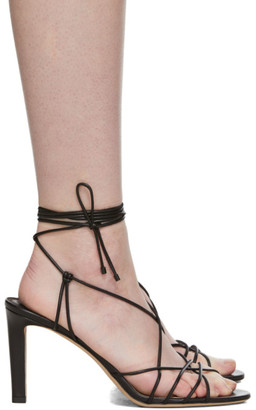 Jimmy Choo Black Leather Tao 85 Sandals