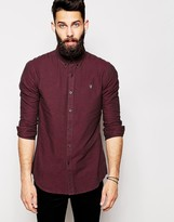 Farah Oxford Shirt With Black Weft Slim Fit - Red