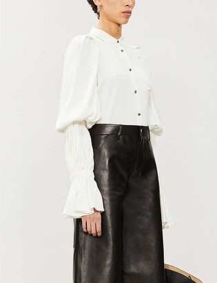 KHAITE Leith puffed-sleeve crepe blouse