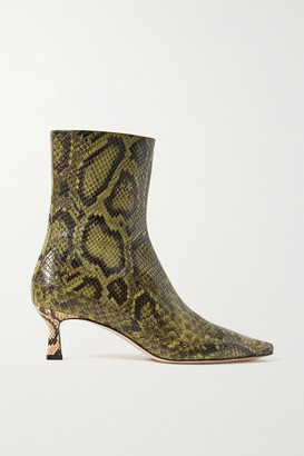 Wandler Bente Snake-effect Leather Ankle Boots - Sage green