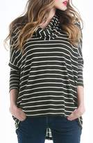 Women's Lilac Clothing Stripe Cowl Neck Maternity Sweater