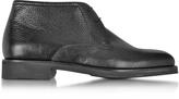 Moreschi Seattle Black Deerskin Leather Ankle Boot w/Rubber Sole