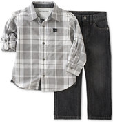 Calvin Klein Baby Boys' 2-Pc. Plaid Shirt & Jeans Set