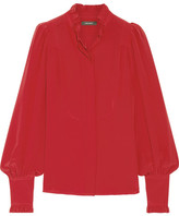 Isabel Marant Sloan Ruffled Silk Crepe De Chine Blouse - Red