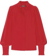 Isabel Marant Sloan Ruffled Silk Crepe De Chine Blouse - Red