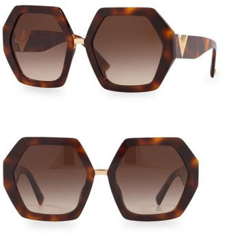 Valentino 57MM Hexagon Sunglasses