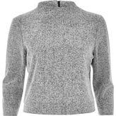 River Island Womens Grey knit high neck grazer top
