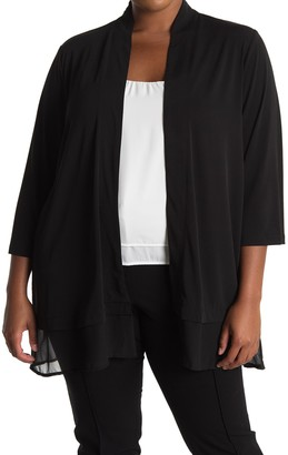 T Tahari 3/4 Length Sleeve Cardigan (Plus Size)