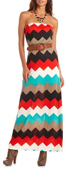 Charlotte Russe Belted Chevron Maxi Dress